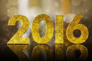 2016 year golden figures whit reflection